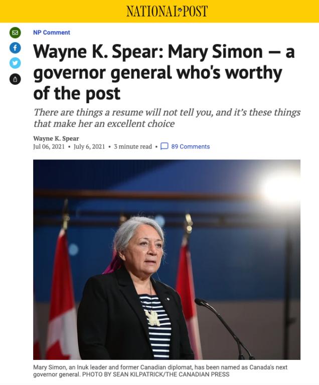 Mary Simon, National Post